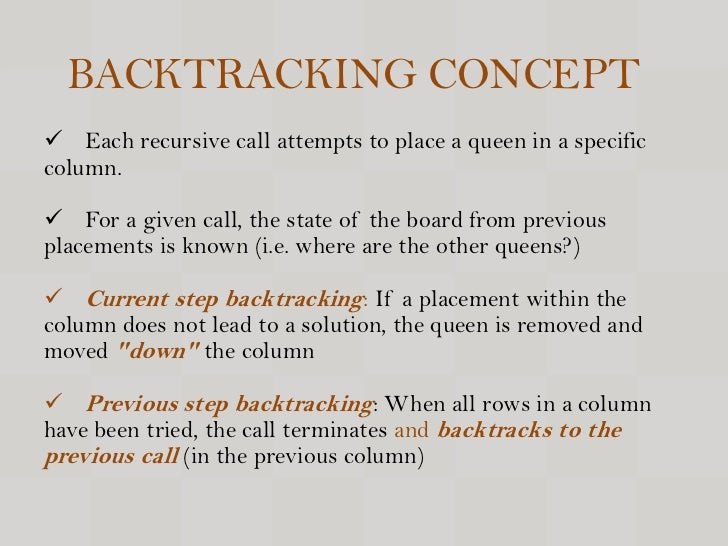 8 queen chess puzzle's solution implementing backtracking C program to solve queens problem using for loops and easy solution  n queen's algorithm using backtracking algorithm  queens problem is a puzzle of placing.