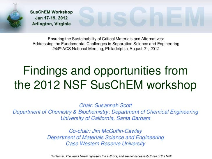 Ensuring the Sustainability of Critical Materials and Alternatives:        Addressing the Fundamental Challenges in Separa...