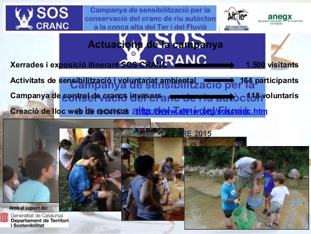 GENER- SETEMBRE 2015 Actuacions de la campanya Xerrades i exposició itinerant SOS CRANC Activitats de sensibilització i vo...