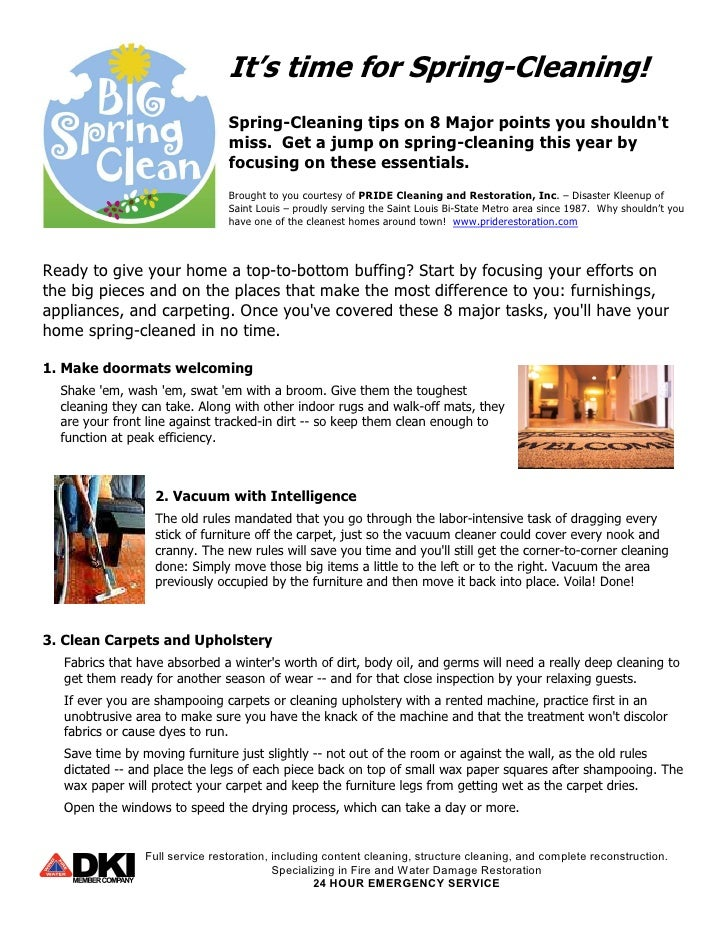 8 spring cleaning tips from PRIDE Cleaning and Restoration