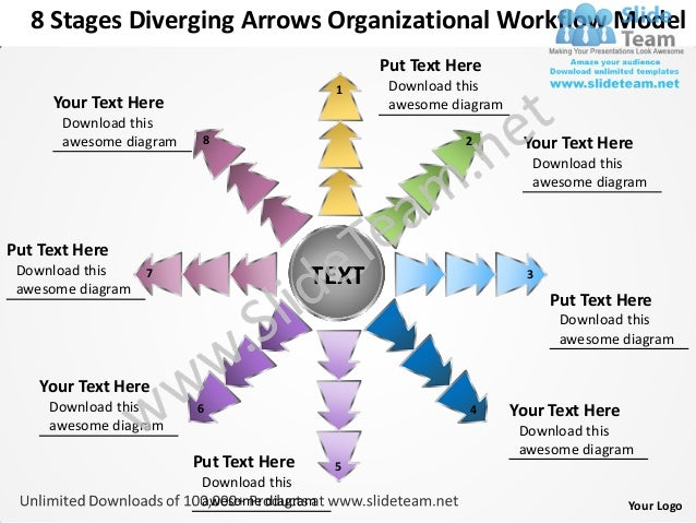 8 Stages Diverging Arrows Organizational Workflow Model                                                Put Text Here      ...