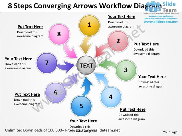 8 steps converging arrows workflow diagram chart software power point templates