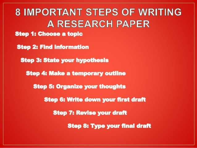 steps to writting a research paper Tips for writing an effective research paper though writing a research paper may seem this is a crucial part and may take longer than the other steps.