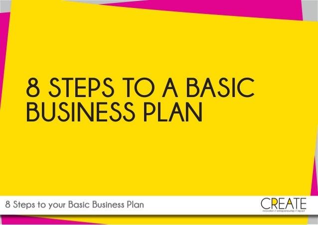 www.createmedia.ie: 8 STEPS TO YOUR BASIC BUSINESS PLAN