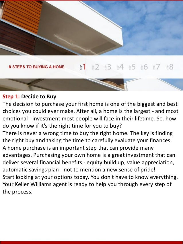 Step 1: Decide to Buy The decision to purchase your first home is one of the biggest and best choices you could ever make....