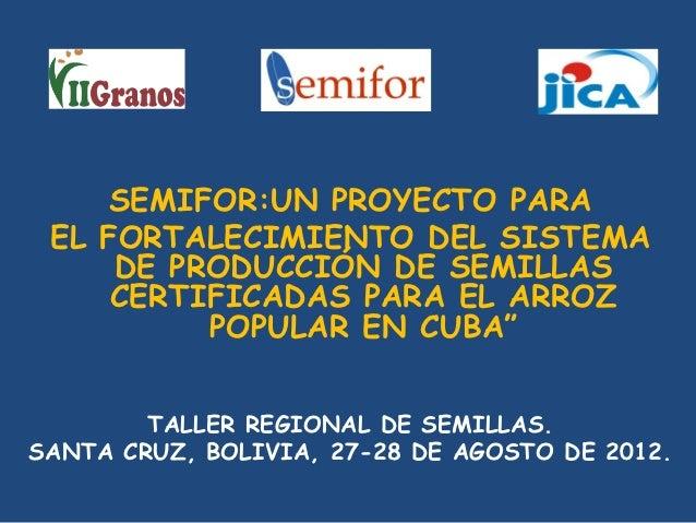 """SEMIFOR:UN PROYECTO PARA EL FORTALECIMIENTO DEL SISTEMA DE PRODUCCIÓN DE SEMILLAS CERTIFICADAS PARA EL ARROZ POPULAR EN CUBA"""""""