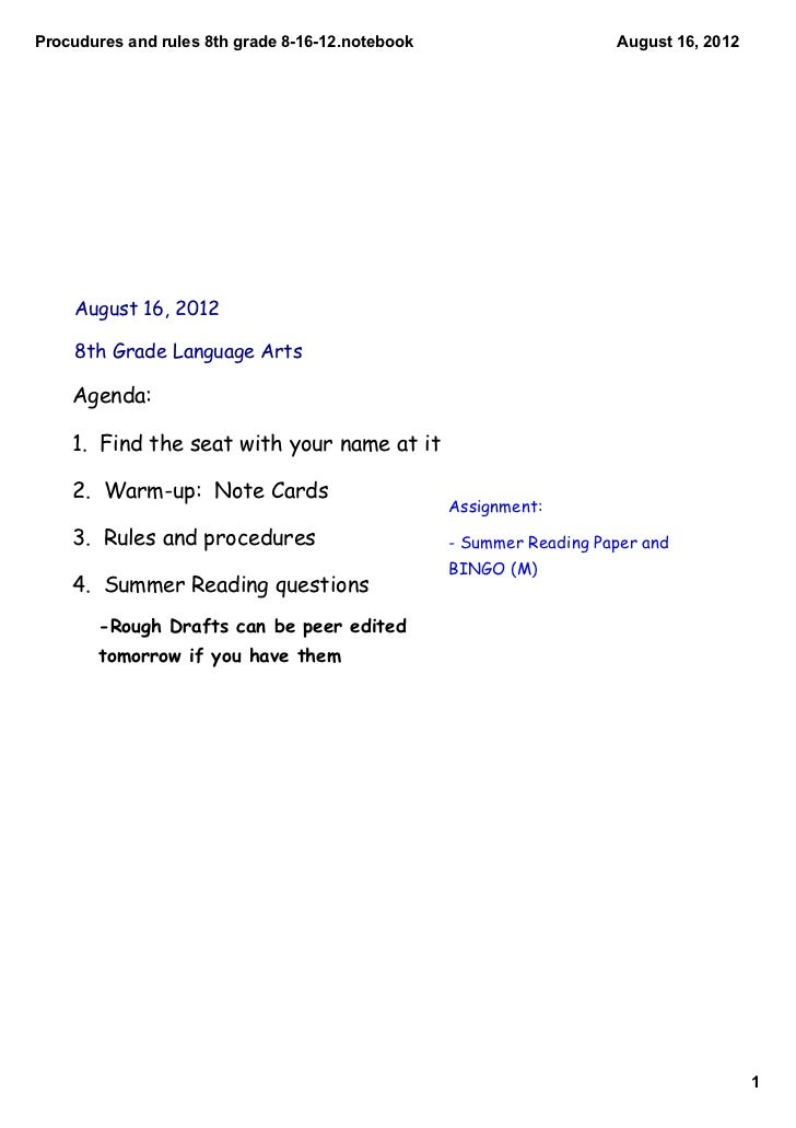 Procudures and rules 8th grade 8­16­12.notebook                      August 16, 2012    August 16, 2012    8th Grade Langu...