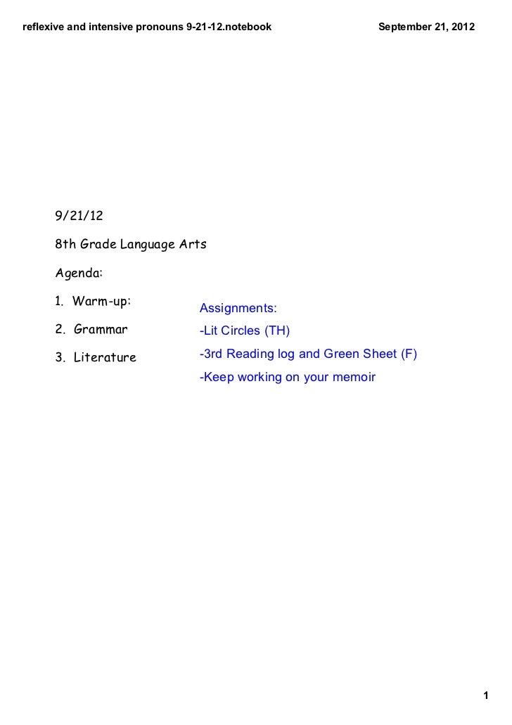 reflexiveandintensivepronouns92112.notebook              September21,2012      9/21/12      8th Grade Language Art...