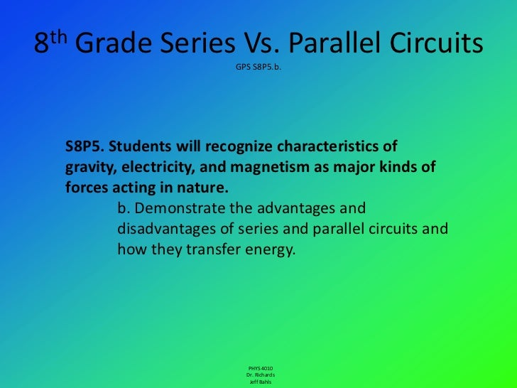 8th Grade Series Vs. Parallel Circuits                           GPS S8P5.b.  S8P5. Students will recognize characteristic...