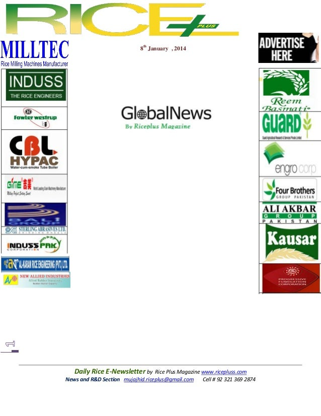 8th january,2014 daily global oryza e newsletter by riceplus magazine