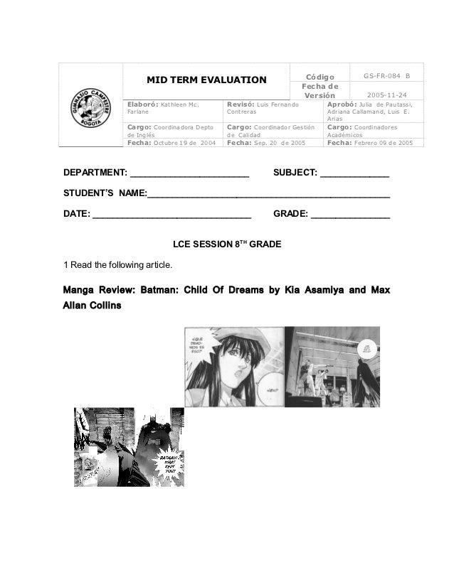 Código         GS-FR-084 B                      MID TERM EVALUATION                                                       ...