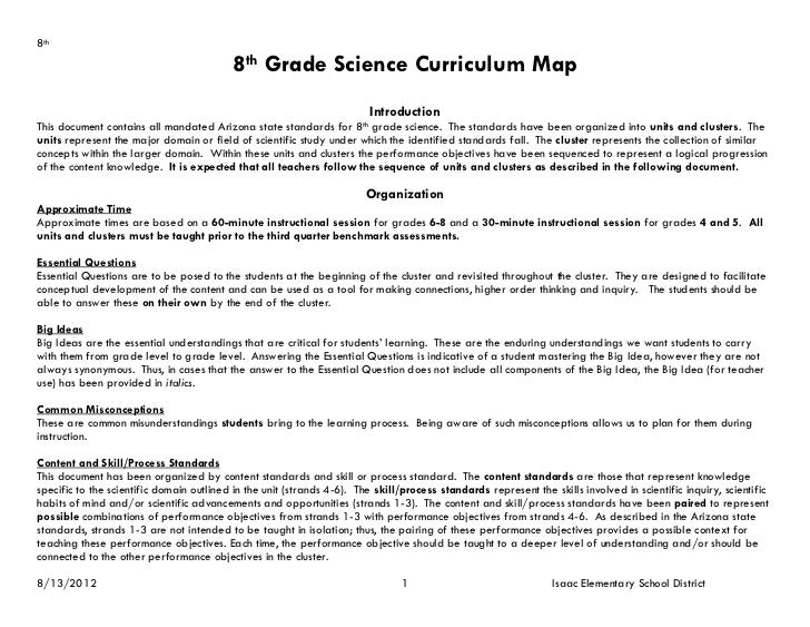 8th                                           8th Grade Science Curriculum Map                                            ...