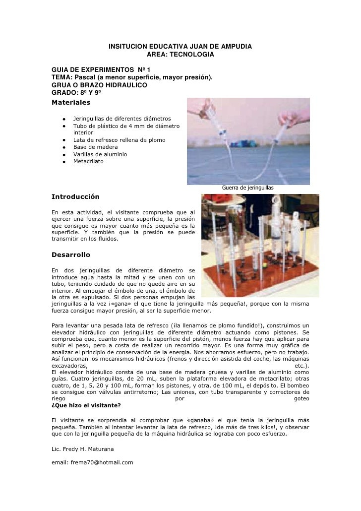 8º y 9º  guia de experimentos  fuerza y presion