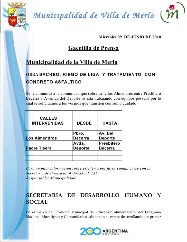 Municipalidad de Villa de Merlo                                            Miercoles 09 DE JUNIO DE 2010                  ...