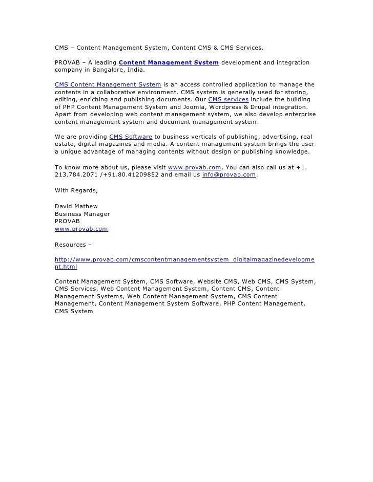 CMS – Content Management System, Content CMS & CMS Services.  PROVAB – A leading Content Management System development and...