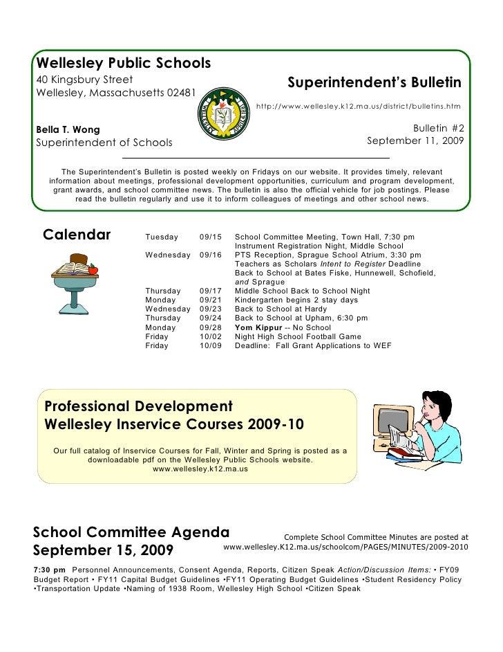 Superintendent's Bulletin 9-11-09
