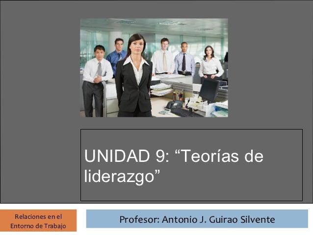 """Profesor: Antonio J. Guirao Silvente                       UNIDAD 9: """"Teorías de                       liderazgo"""" Relacion..."""