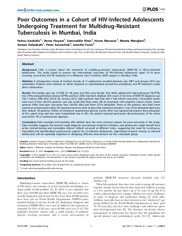 Poor Outcomes in a Cohort of HIV-Infected Adolescents Undergoing Treatment for Multidrug-Resistant Tuberculosis in Mumbai, India.