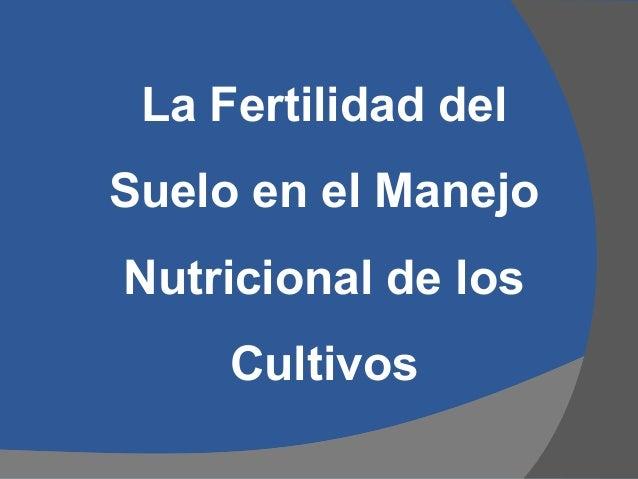 La Fertilidad del Suelo en el Manejo Nutricional de los Cultivos