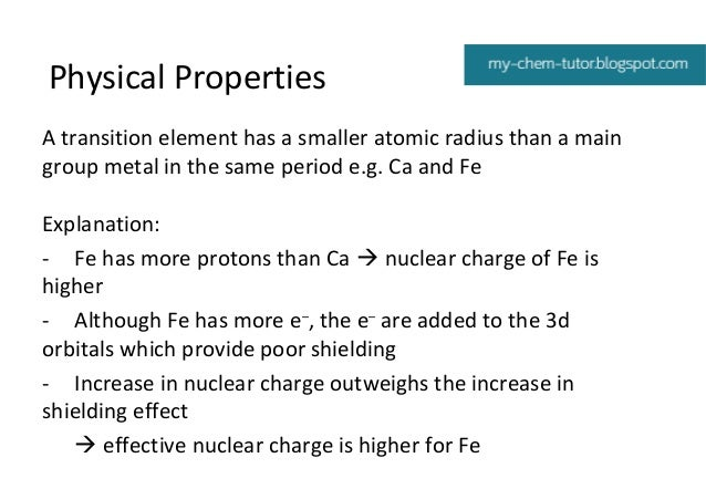 Physical Properties Of Post Transition Metals