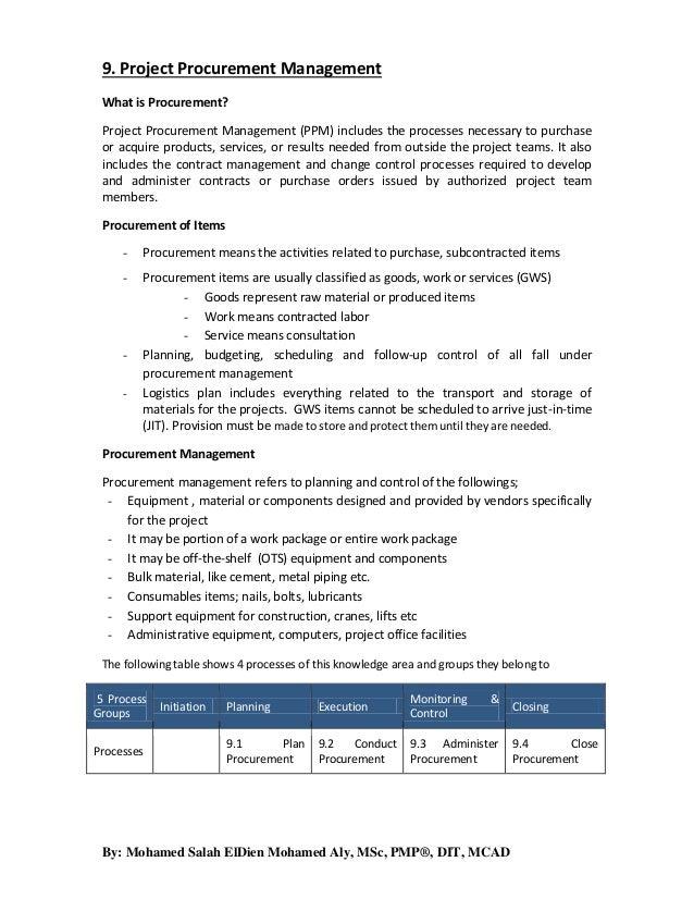 9. project procurement management