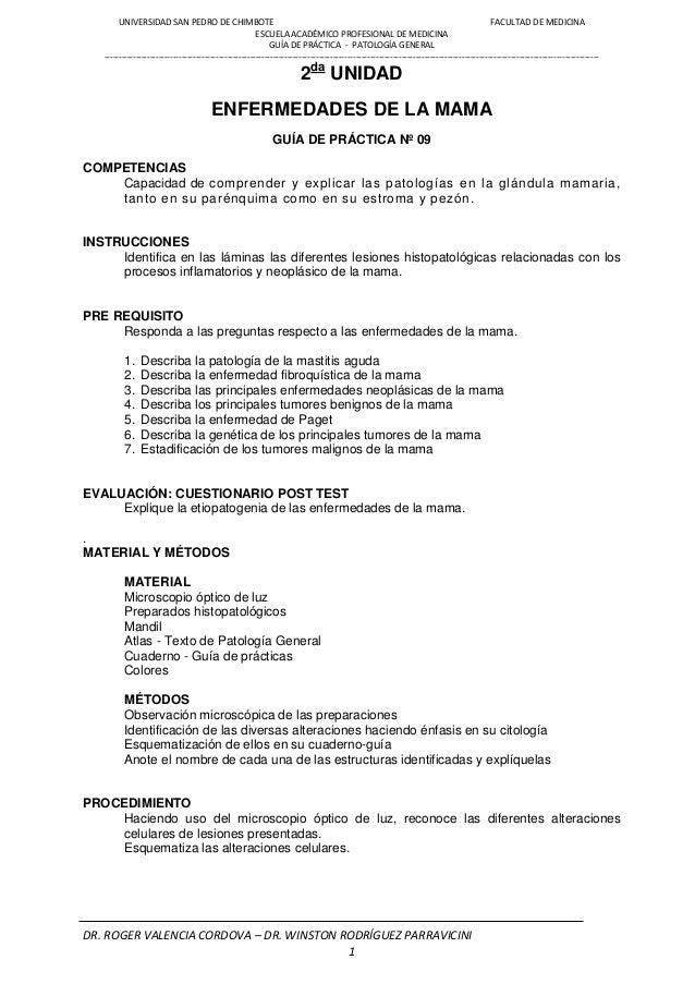 UNIVERSIDAD SAN PEDRO DE CHIMBOTE FACULTAD DE MEDICINA ESCUELA ACADÉMICO PROFESIONAL DE MEDICINA GUÍA DE PRÁCTICA - PATOLO...