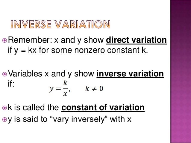 Inverse Variation Formula 9.1 inverse and joint ...