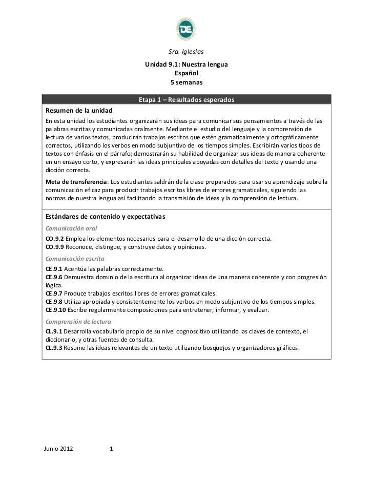 Sra. Iglesias                                     Unidad 9.1: Nuestra lengua                                              ...
