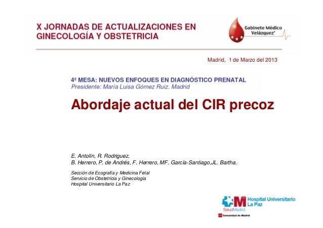 Madrid, 1 de Marzo del 2013Abordaje actual del CIR precozE. Antolín, R. Rodriguez,B. Herrero, P. de Andrés, F. Herrero, MF...
