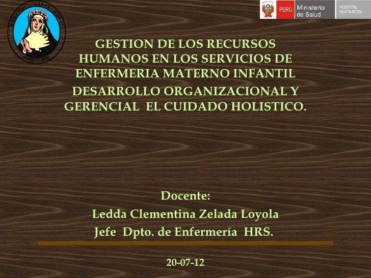 Gestion de los recursos humanos en los servicios de enfermeria materno infantil - desarrollo - CICAT-SALUD
