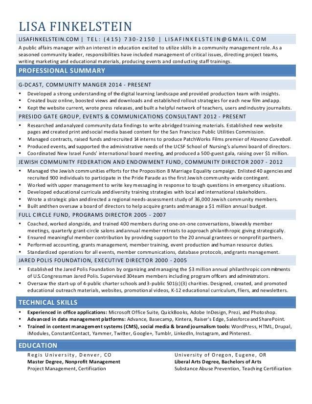 LISA  FINKELSTEIN  LISAFINKELSTEIN.COM  |  T E L :  ( 4 1 5 )  7 3 0 -‐ 2 1 5 0  |  L I S A F INK E L S T E IN@GMA I L . ...
