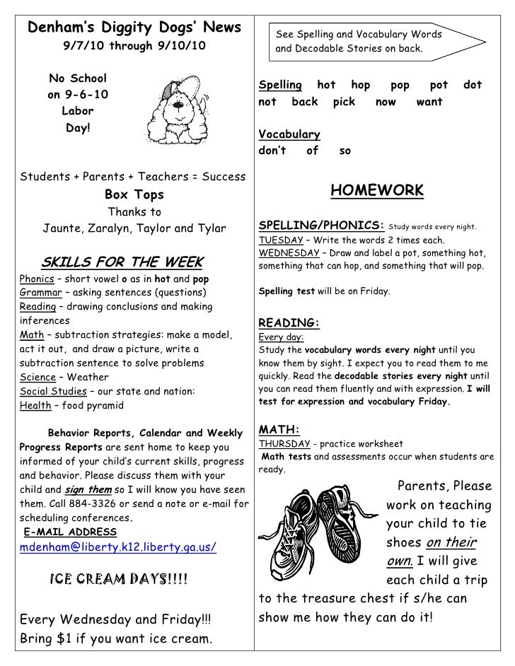 Denham's Diggity Dogs' News                          See Spelling and Vocabulary Words          9/7/10 through 9/10/10    ...