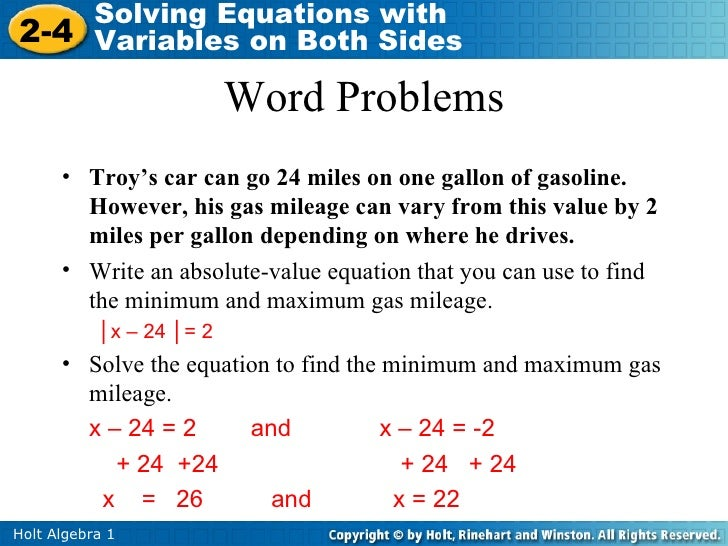 Solving absolute value equations and inequalities worksheet algebra 1
