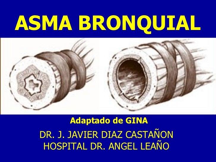 ASMA BRONQUIAL Adaptado de GINA DR. J. JAVIER DIAZ CASTAÑON HOSPITAL DR. ANGEL LEAÑO