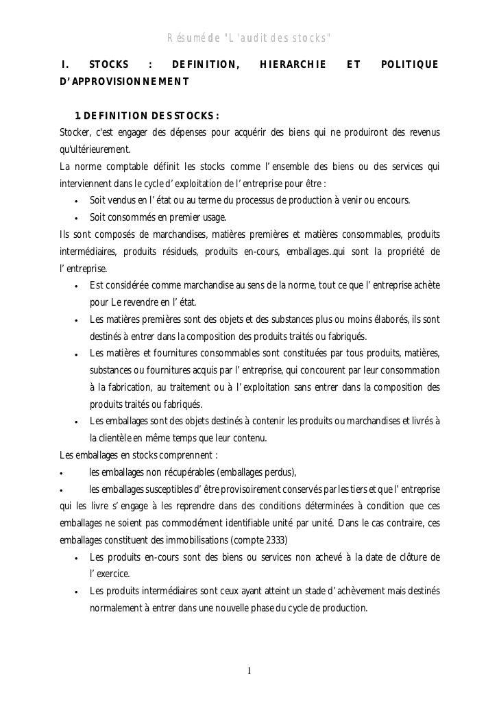 """Résumé de """"Laudit des stocks""""                                        """"LauditI.       STOCKS          :     DEFINITION,    ..."""