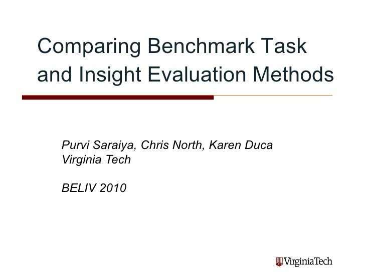 Comparing Benchmark Task and Insight Evaluation Methods.