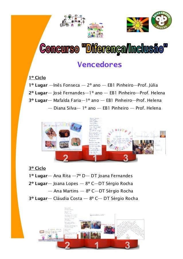 Vencedores 1º Ciclo 1º Lugar —Inês Fonseca — 2º ano — EB1 Pinheiro—Prof. Júlia 2º Lugar— José Fernandes—1º ano — EB1 Pinhe...