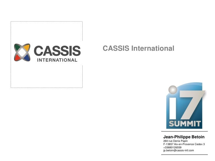 Cassis international's pitch