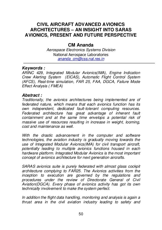 CIVIL AIRCRAFT ADVANCED AVIONICS   ARCHITECTURES – AN INSIGHT INTO SARAS AVIONICS, PRESENT AND FUTURE PERSPECTIVE         ...