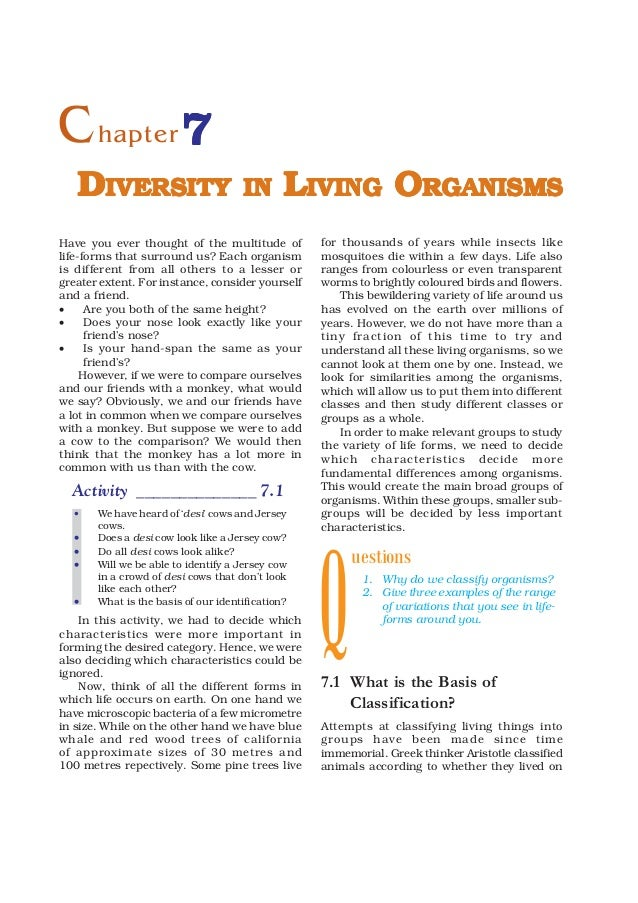 C hapter 7   DIVERSITY                         IN       LIVING ORGANISMSHave you ever thought of the multitude of         ...