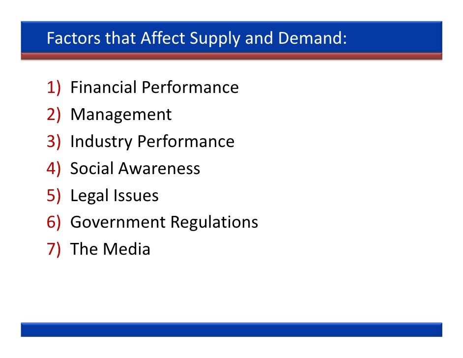 factors afeecting supply and demand for What are five factors that influence demand technology can also affect the amount demanded what are factors influencing supply and demand.