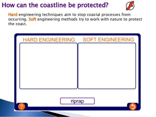 soft engineering and hard engineering In civil engineering of shorelines, hard engineering is controlled disruption of natural processes by using man-made structures hard engineering is using man-made objects to help natural.