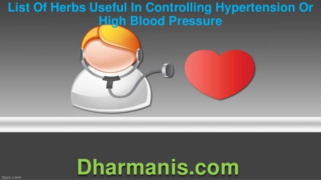 List Of Herbs Useful In Controlling Hypertension Or High Blood Pressure