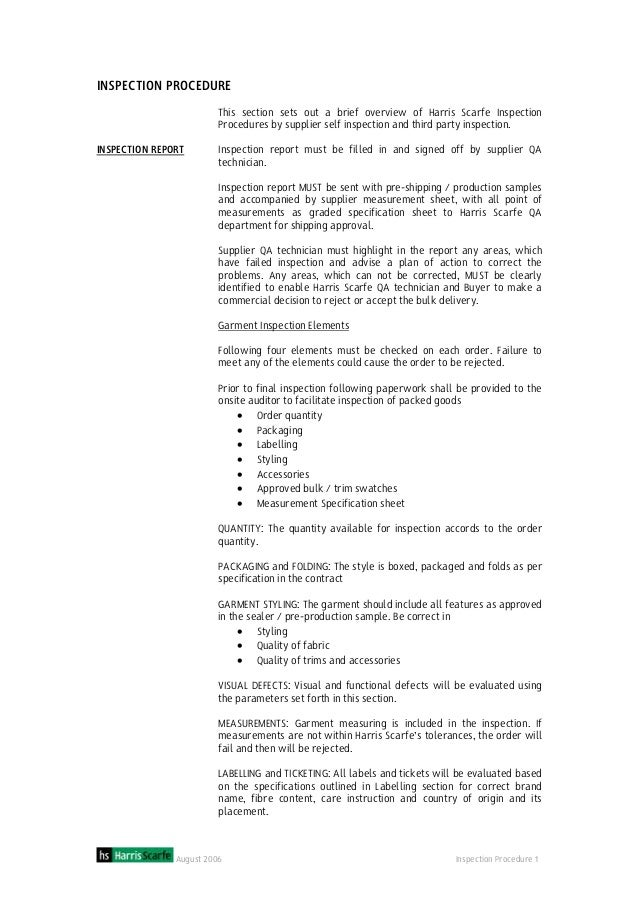 August 2006 Inspection Procedure 1 INSPECTION PROCEDURE INSPECTION REPORT This section sets out a brief overview of Harris...
