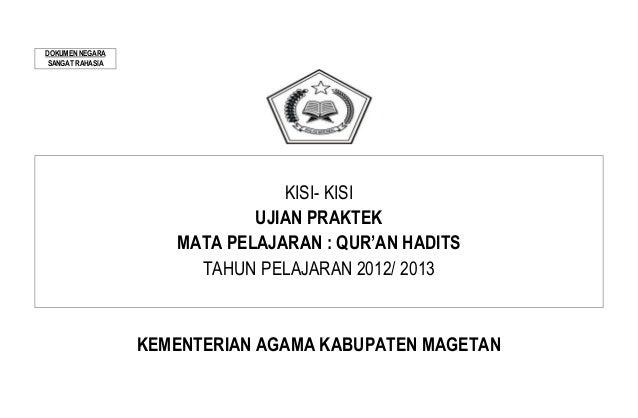 9. kisi kisi ujian praktek qur'an hadits 2012 2013