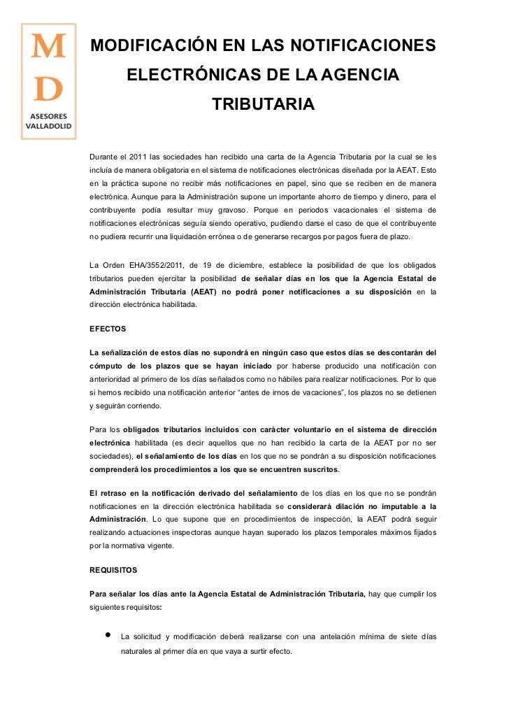 MODIFICACION EN NOTIFICACIONES ELECTRONICAS MD ASESORES VALLADOLID