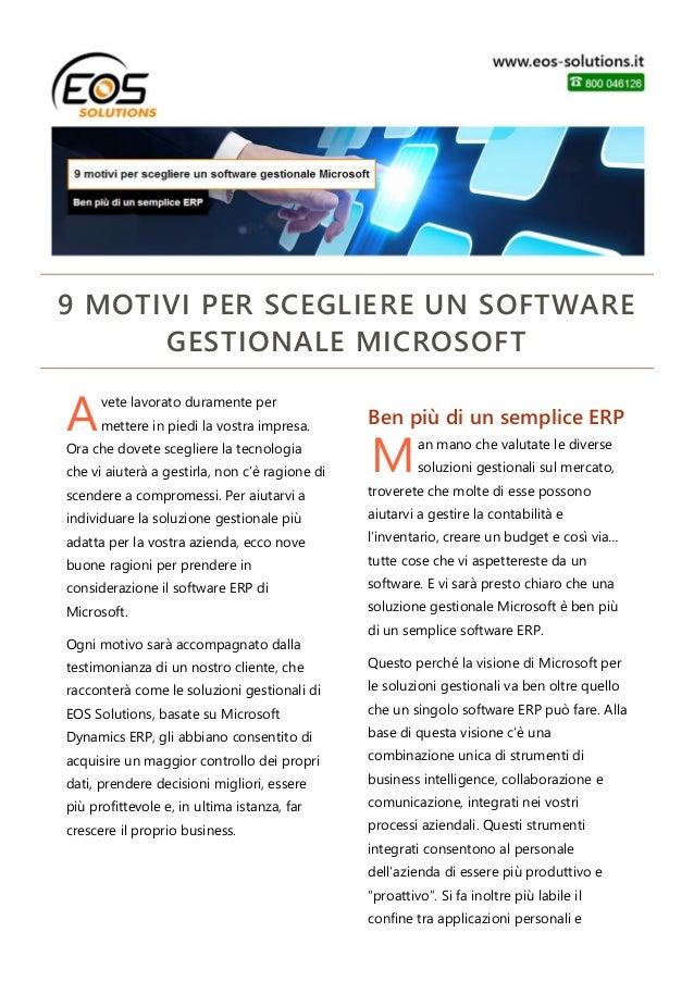 9 motivi per scegliere un software gestionale Microsoft