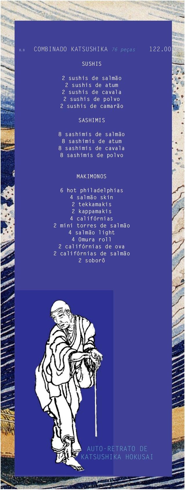 8.8   COMBINADO KATSUSHIKA 76 peças   122.00                    SUSHIS              2 sushis de salmão               2 sus...