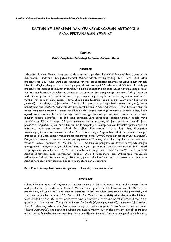 Ramlan : Kajian Kelimpahan Dan Keanekaragaman Artropoda Pada Pertanaman Kedelai             KAJIAN KELIMPAHAN DAN KEANEKAR...