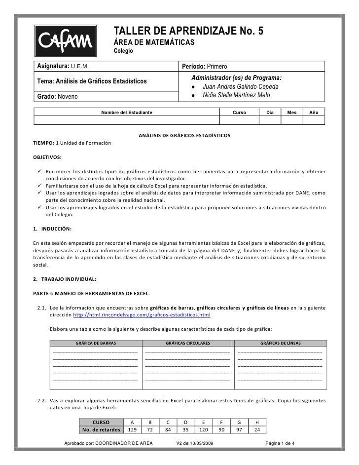 TALLER DE APRENDIZAJE No. 5                                  ÁREA DE MATEMÁTICAS                                  Colegio ...